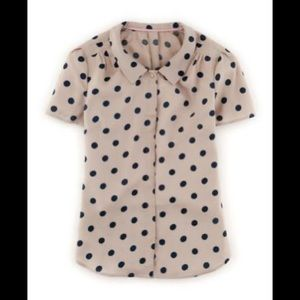 Boden Tan and Navy Salisbury Short Sleeve Blouse